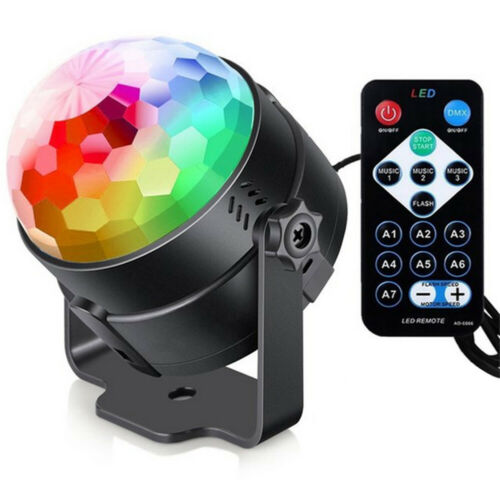 Sound Activated Strobe Disco Light Self-Propelled LED RGB DJ Stage Lamp #w