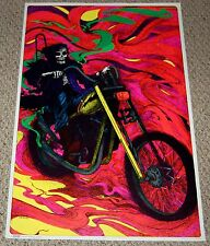 DEATH Grim Reaper biker Chopper Motorcycle Blacklight Poster 1972 Patterson Art