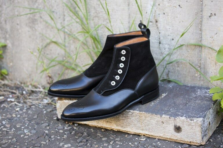 Handmade Men's black leather button boot,  Men fashion style button dress boots
