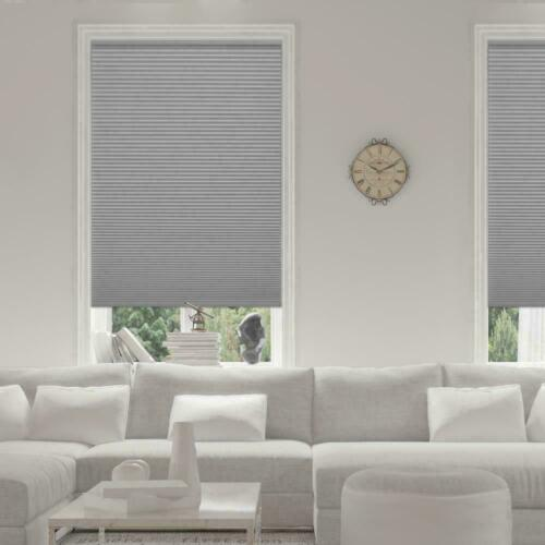 PRE CUT Home Decorators Pewter 9//16 in Cordless Blackout Cellular Shade