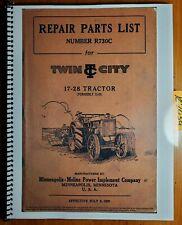 Minneapolis Moline Twin City 17 28 Tractor 12 20 Repair Parts List Manual 729