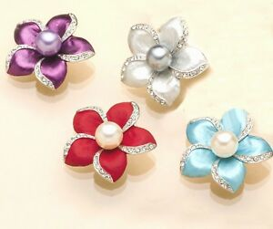 BROOCH-Pin-on-Flower-Brooches-Purple-Silver-Red-Blue-Gift-for-Mum