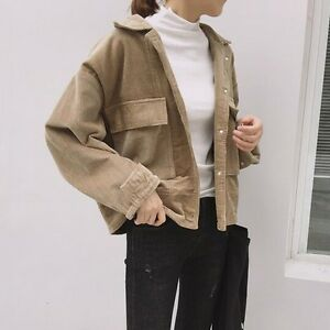 6bedbfeb570 Details about Women Corduroy Jacket Top Shirt Coat Casual Vintage Oversize  Loose Fashion Retro