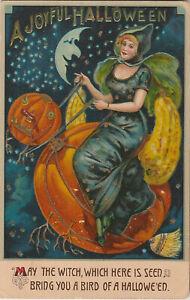 S21-1232-Halloween-Postcard-B-37-Witch-Woman-Riding-Pumpkin-with-JOL-Head-1911