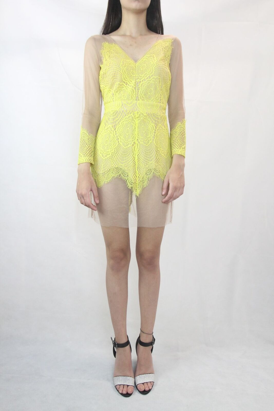 SNIDEL Anthropologie  Nude Yellow Mesh Lace Dress Size S (8) (Japan based label)