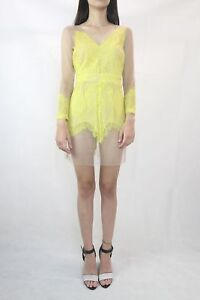 SNIDEL-Anthropologie-Nude-Yellow-Mesh-Lace-Dress-Size-S-8-Japan-based-label