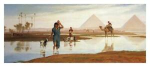 """Overflow of The Nile, With The Pyramids-Paper Art-38""""x16.904"""""""