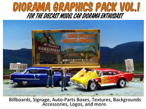 Diorama Graphics Pack Collection-Printable cutouts for your Diecast Car Dioramas