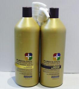 Pureology-Nano-Works-Gold-Shampoo-amp-Conditioner-33-8-Liter-Set-Pumps-SEALED-LIDS