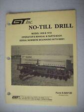 Original Gt No Till Drill Model 1406 Amp 1410 Operators Amp Parts Manual