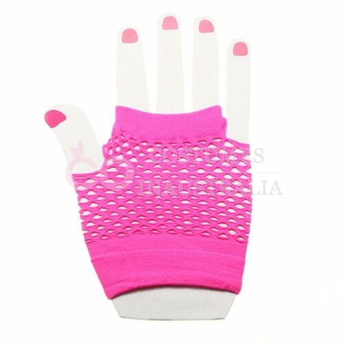 80s Neon Hot Pink Fishnet Gloves Leg Warmers 80/'s Party Girl Costume Accessories