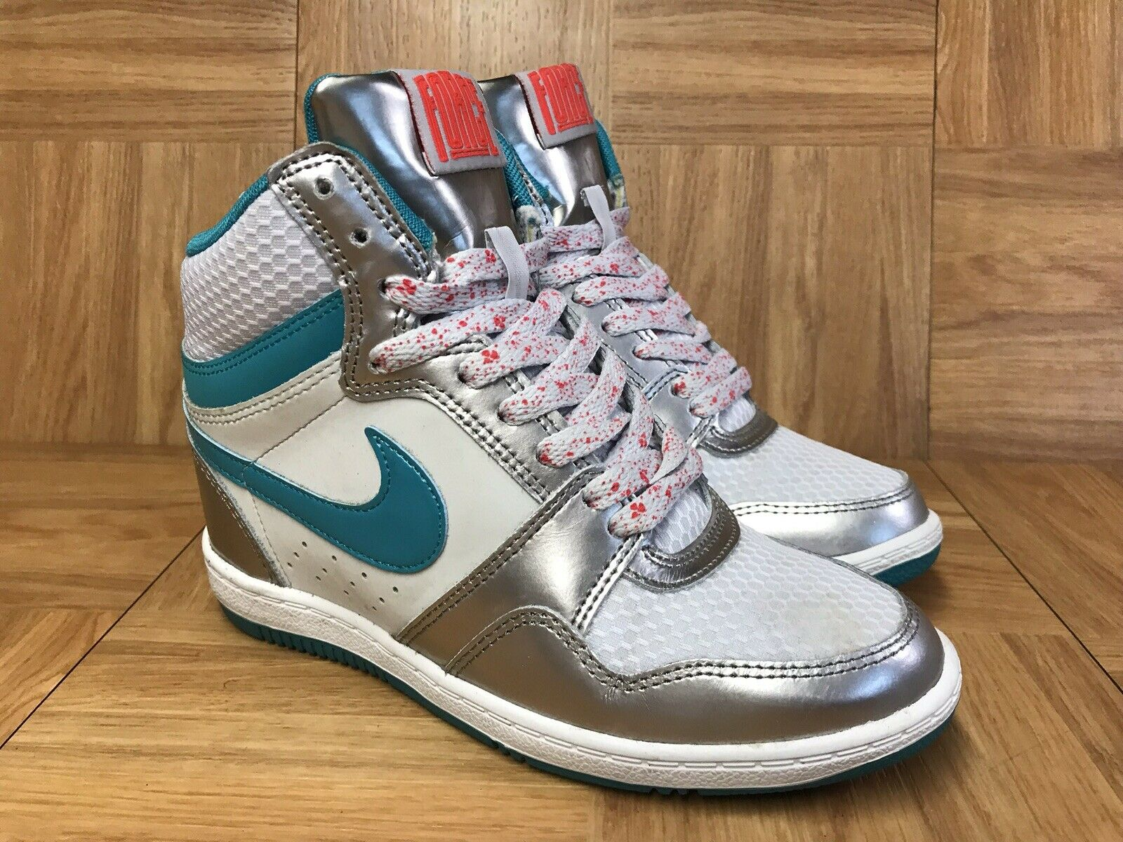 RARE Nike Air Force Sky High Premium Platinum Silver Turbo Sz 6 644413-002