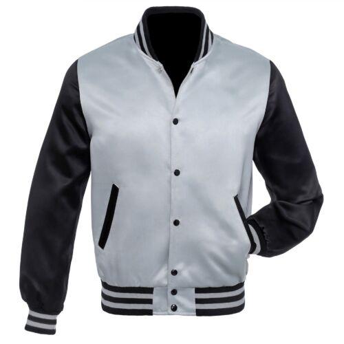 Grey Black Satin Varsity Letterman Bomber Baseball  Jackets Rib Grey//Black