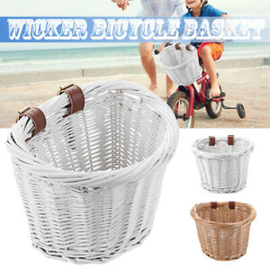 Leather Straps Wicker Shopping Box Bicycle Basket Childrens Cycle Kids Bike