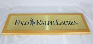 Vtg Polo Ralph Lauren Store Display Sign Brass & Wood 22.5 x 7.25