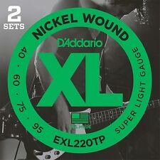 D'Addario EXL220TP Nickel Wound Bass Guitar Strings, Super Light, 40-95, 2 Sets, Long Scale