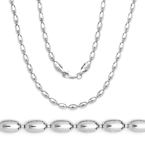 925 Sterling Silver Solid Italy w// Rhodium Oval Bead Link Italian Chain Necklace