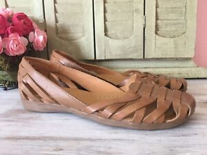 Bare Traps Elton Womens Brown Woven Leather Closed Toe Slip on Sandals sz 8.5 M