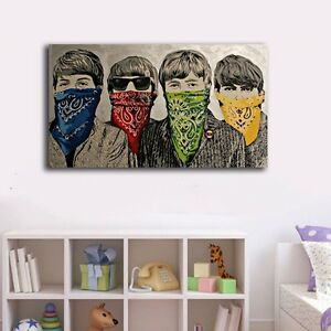 60-100-3cm-Beatles-Graffiti-Canvas-Print-Framed-Wall-Art-Decor-Painting-Gift