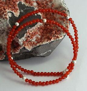 Karneol-Kette-Edelsteinekette-925-Silber-Damen-Collier-Orange-Halskette-46-cm