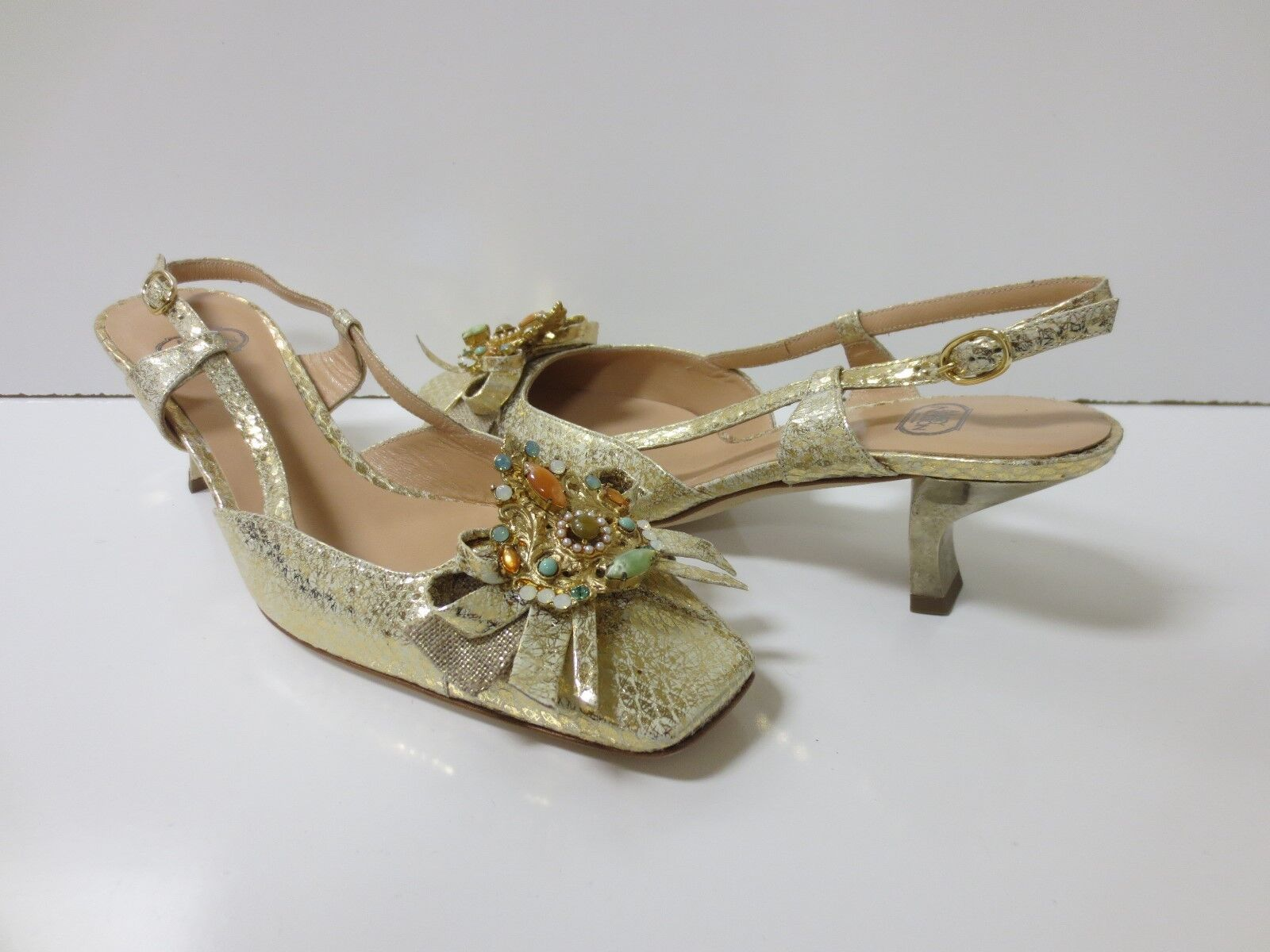 MARY NORTON gold Leather Slingback Heels Stones Crystals Bow Vamp NEW 36