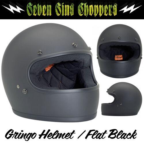 GRINGO DOT Biltwell NEW Flat Black HELMET CHOPPER Motorcycle Matte CHOOSE SIZE