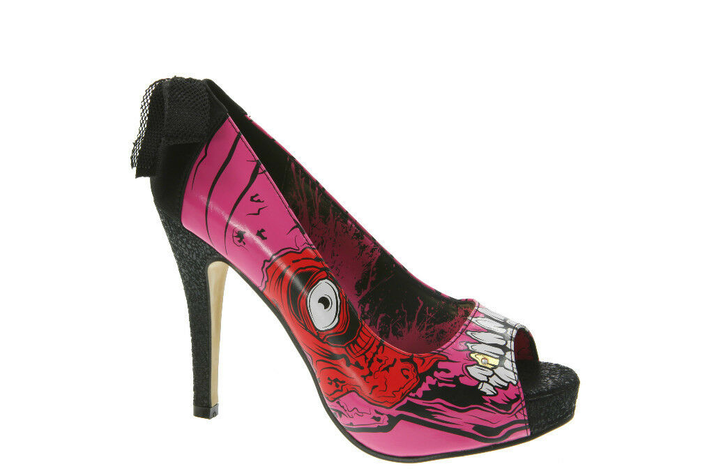 Iron Fist Gold Digger Zombie Stomper New Platform Rock Heel Schuhes Pink ROT Weiß