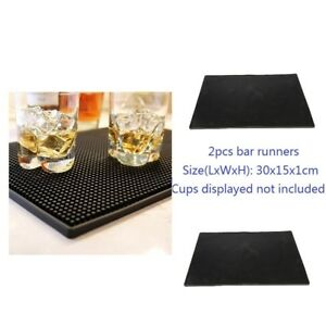 "12x6"" Rubber Service Bar Runner Heavy Duty Home Bar and Rubber Drip Mat 2pcs"