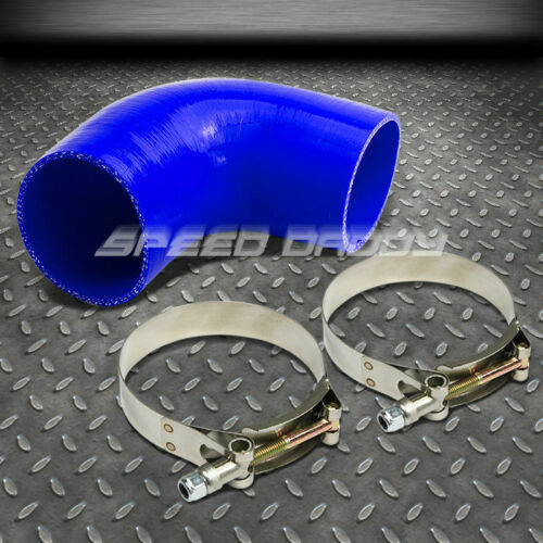 """2.75/"""" 3-PLY 90�ELBOW TURBO//INTERCOOLER//INTAKE SILICONE COUPLER HOSE+T-CLAMP BLUE"""