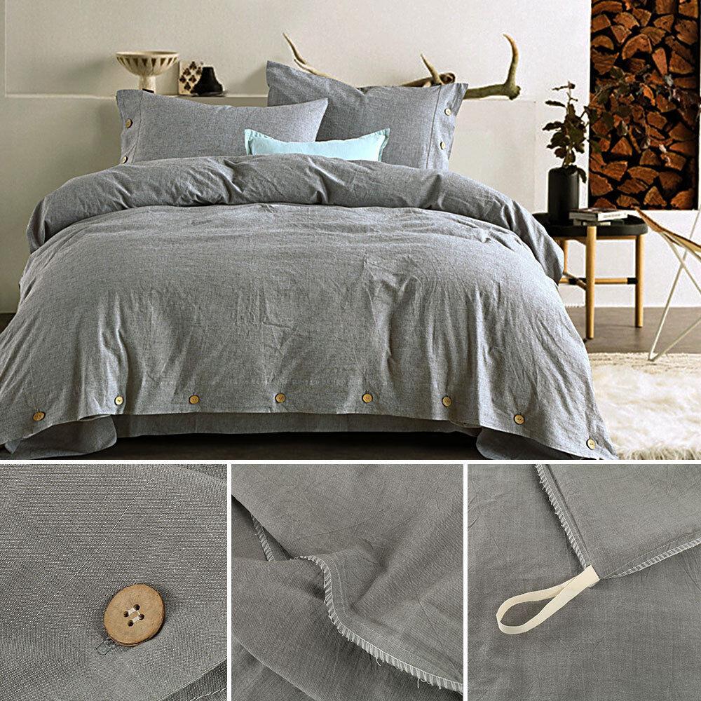 Bettbezug Kissenbezug Bettwäschesatz aus gewaschener Baumwolle 100%