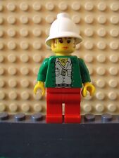 Lego Minifig ~ Pippin Reed ~ Adventurers Reporter With Pith Helmet Green Shirt