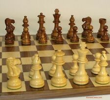 """NATURAL WOOD CHESS SET - WALNUT/MAPLE BOARD 17¼"""" - WEIGHTED K=3¾ (ww 37slc-wc)"""