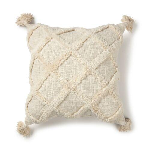 20x20 Farmhouse Tufted Throw Pillow Boho Modern Tribal Tufted Fringe Tassel