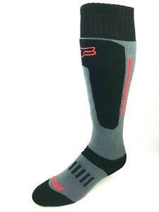 Fox Racing Crew Socks Black and Gray with Red