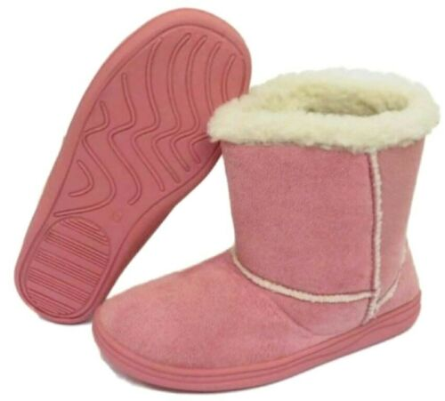 KIDS BOYS GIRLS FUR LINED COMFORT WARM WINTER SLIP ON SLIPPERS SHOES BOOT BOOTS