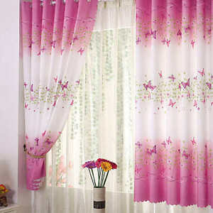 Pink-Butterfly-Childrens-Bedroom-Finished-Curtain-Kids-Window-Curtains-Eyelet