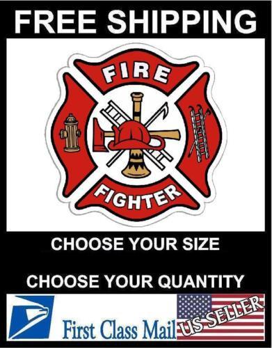 WHITE//RED Vinyl Decal Fire Dept Maltese Cross Firefighter Sticker REFLECTIVE