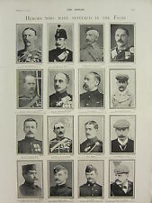 1900 VICTORIAN BOER WAR PRINT ~ HEROES WHO HAVE SUFFERED THE FIGHT ~ NAMED