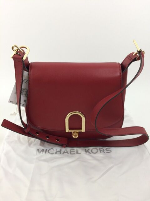 4bbd3e197e42f Michael Kors Delfina Burnt Red Large Saddle Bag   Retail for sale ...
