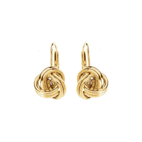 Knot Lever Back Earrings In 14K Yellow Gold