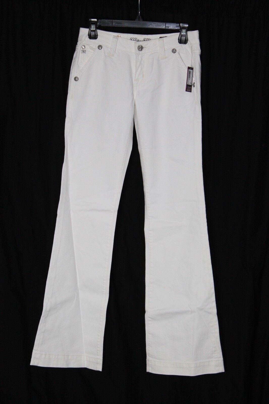 Miss Me White Jeans Wide Leg Size 27 JS4481W3 Zip Front P4