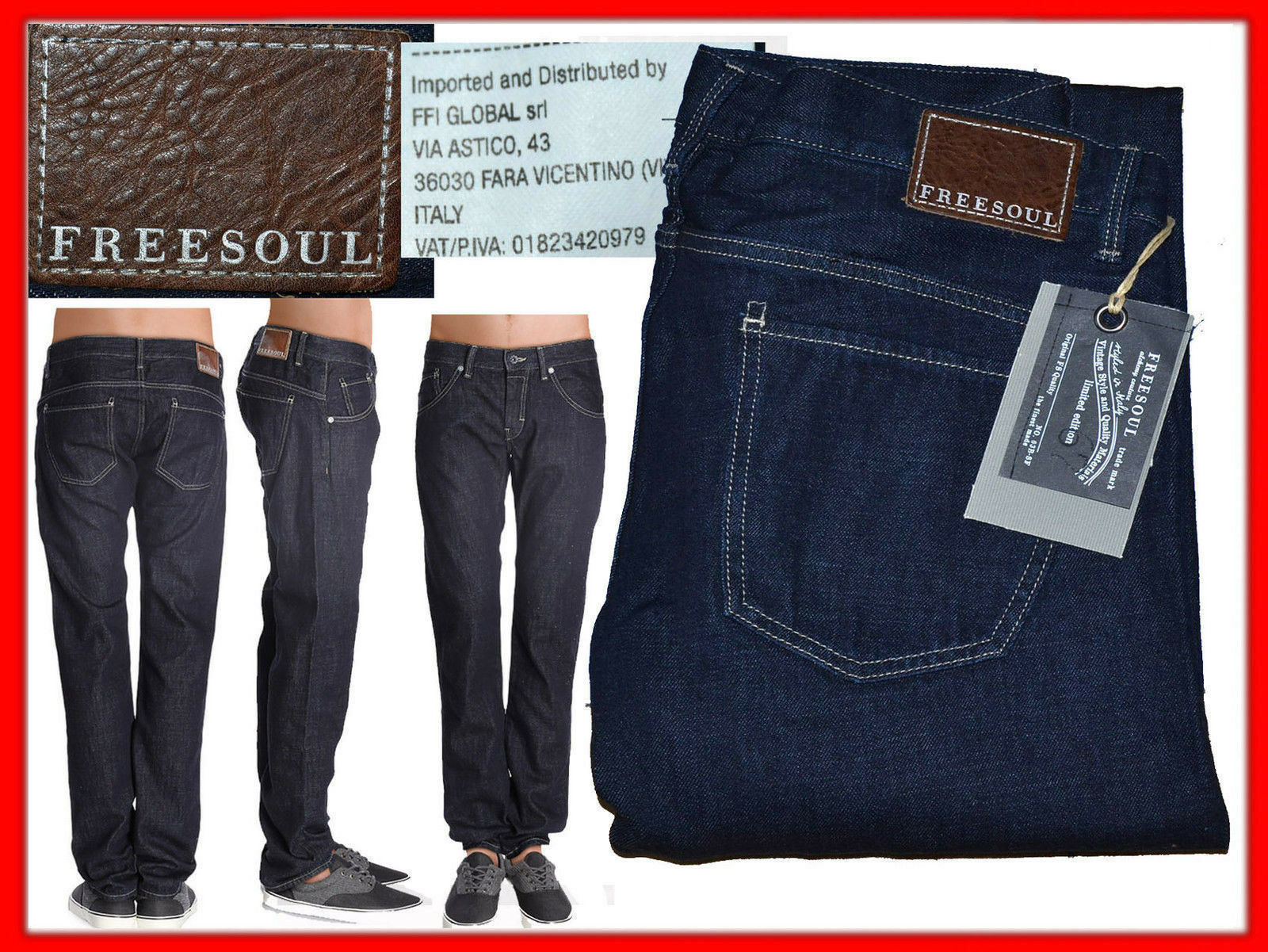 FREESOUL Jeans Per men 32 o 34 US Fino - 80 % FR01 N2G