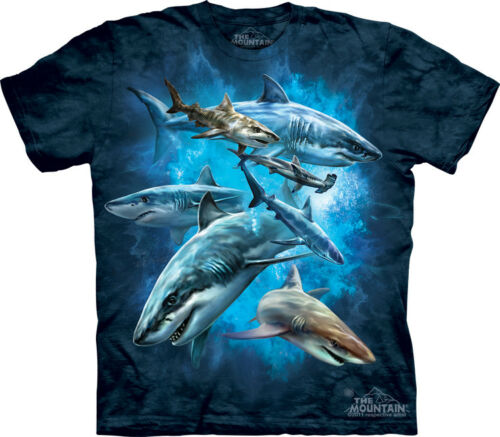 The Mountain 100/% Cotton Kid/'s Shark Collage T-Shirt Tee Blue S /& M NWT