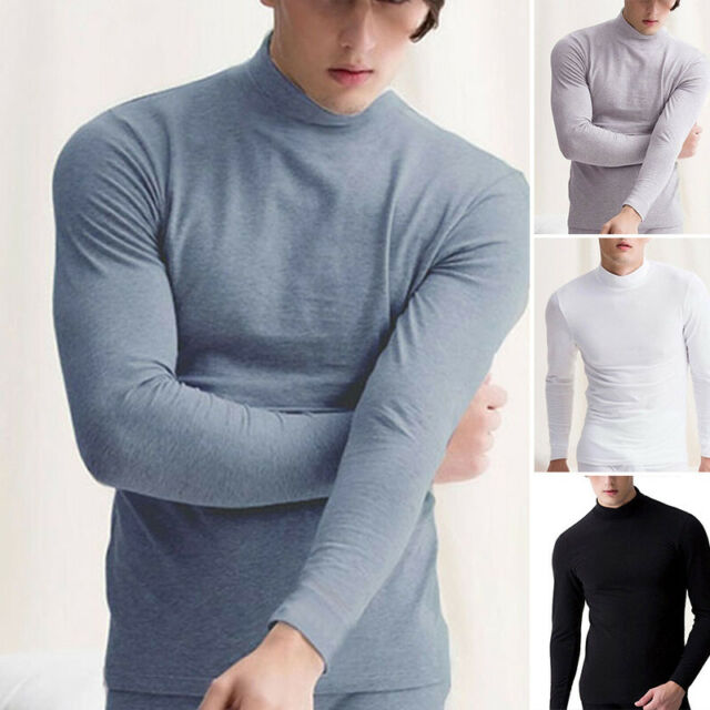 Mens Winter Turtleneck T-shirt Long Sleeve Pullover Tops Warm Solid Tee Shirts