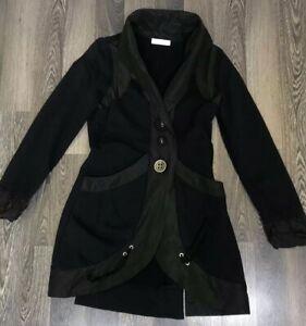 Elisa-Cavaletti-Long-Sleeve-Black-Jacket-Top-Made-in-Italy-Cardigan-Size-S