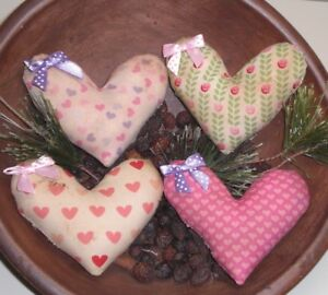 Primitive Farmhouse Handmade Valentines Heart Bowl Fillers Free Shipping