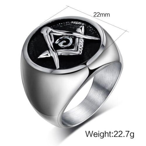 Punk Masonic Band Freemasons Titanium Steel Men/'s Fashion Jewelry Ring Size 6-13
