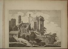 stampa antica old print Tivoli tempio sibilla Mortier Blaeu 1704 kupferstich