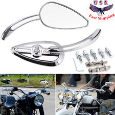 Chrome Skull Teardrop Rearview Mirrors For Harley Dyna Electra Glide Motorcycle