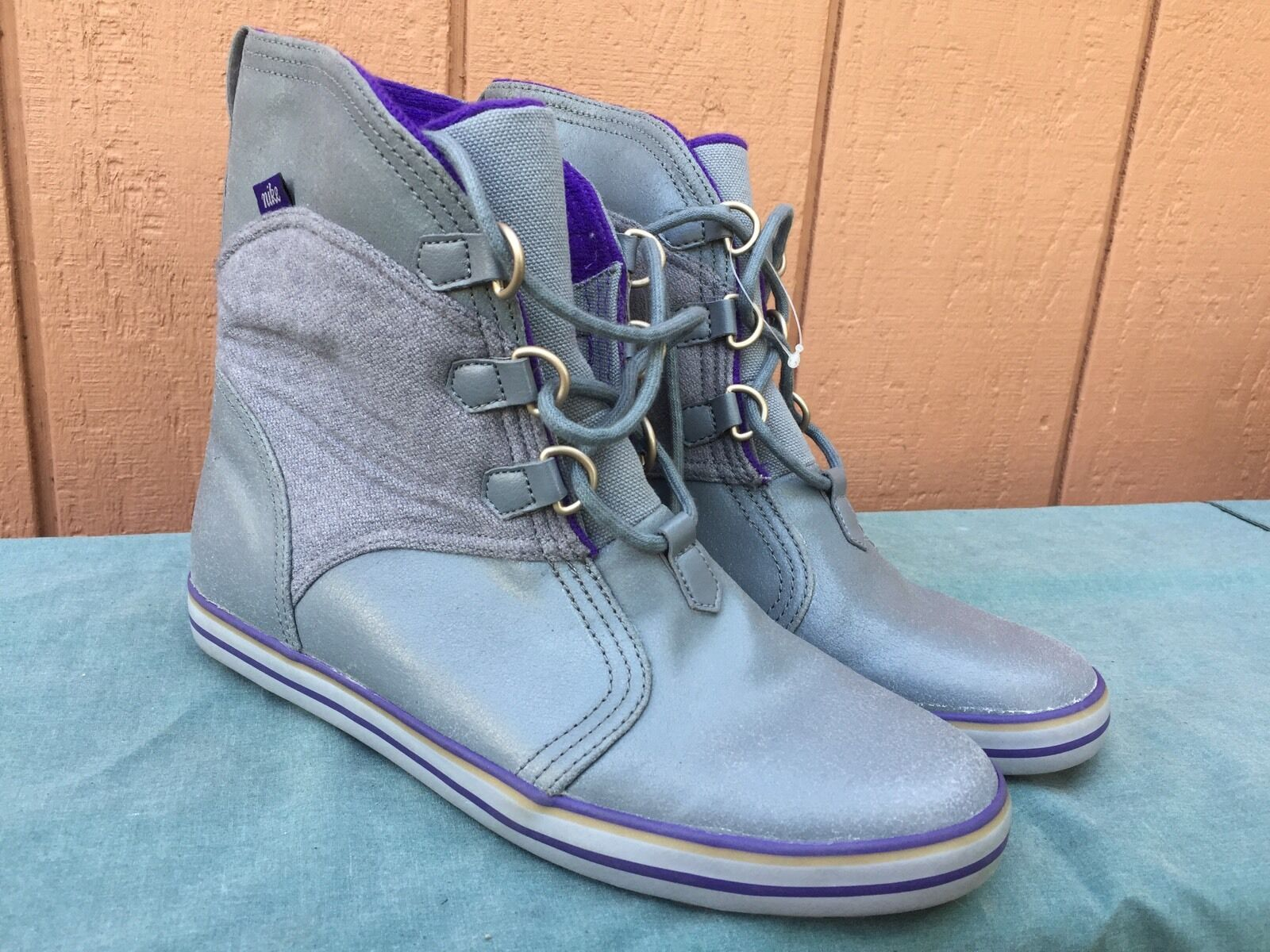 NIKE WOMEN'S CARICO MID LEATHER BOOTS COOL GREY COURT PURPLE ANTHRACTE US SZ 7